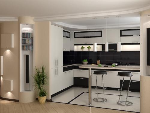 дизайн и интерьер кухни с барной стойкой