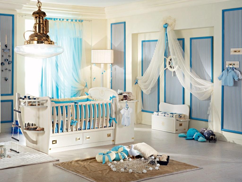 декор для детской комнаты в голубых тонах